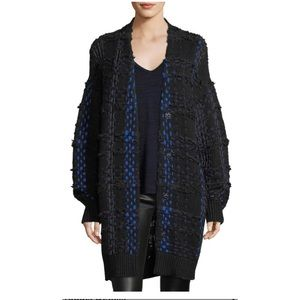 Dawson blue Plaid oversized Knit  cardigan Coat M